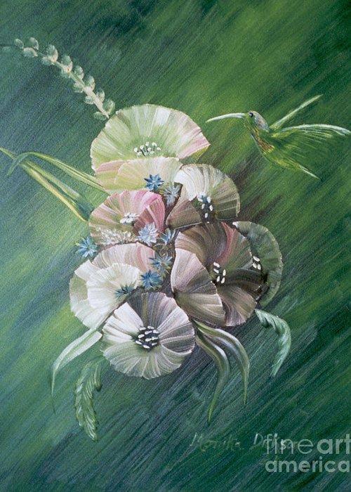 Hummingbird Greeting Card featuring the painting Hummingbird-green by Monika Shepherdson