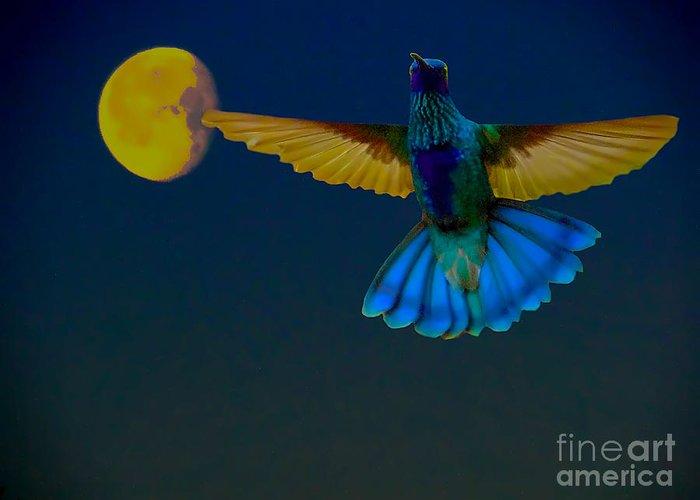Al Bourassa Greeting Card featuring the photograph Hummingbird Moon by Al Bourassa