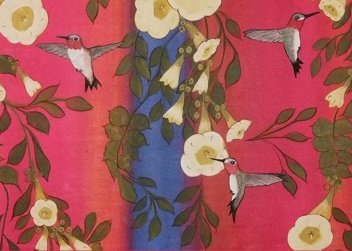 Hummingbirds Greeting Card featuring the painting Hummingbird Picnic by Cindy Micklos