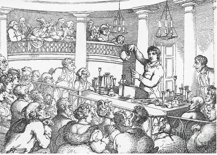 Science Greeting Card featuring the photograph Humphrey Davy Lecturing, 1809 by Science Source