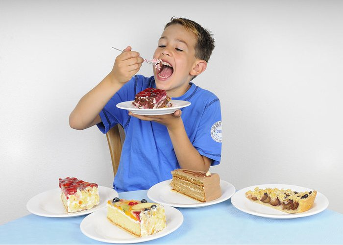 Cake Greeting Card featuring the photograph Hungry Boy Eating Lot Of Cake by Matthias Hauser