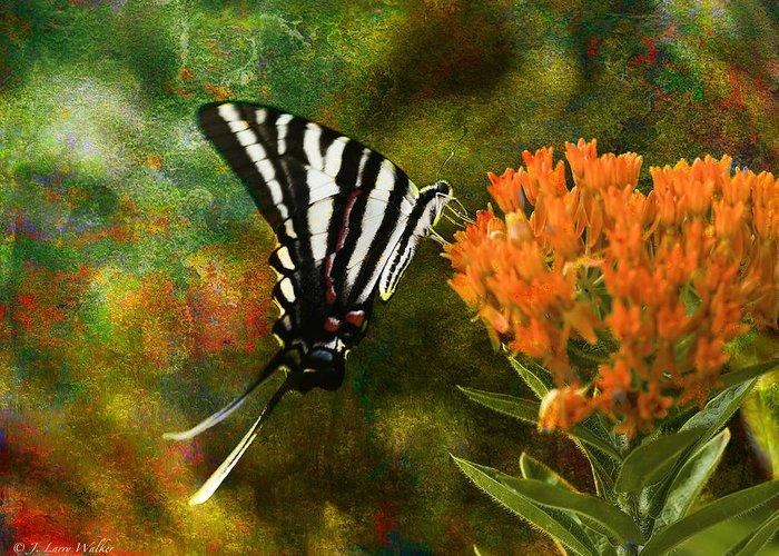 J Larry Walker Greeting Card featuring the digital art Hungry Little Butterfly by J Larry Walker