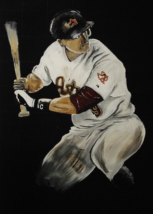 Hunter Pence Greeting Card featuring the painting Hunter Pence 2 by Leo Artist