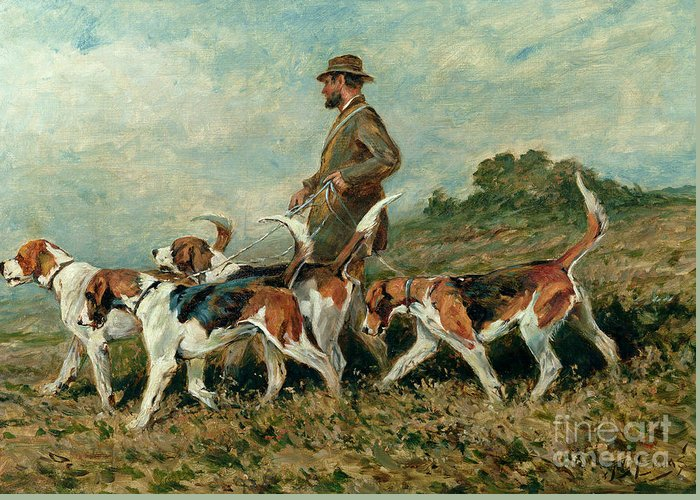 Foxhounds Greeting Card featuring the painting Hunting Exercise by John Emms