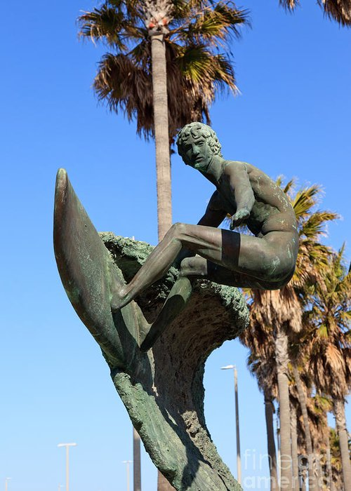 America Greeting Card featuring the photograph Huntington Beach Surfer Statue by Paul Velgos