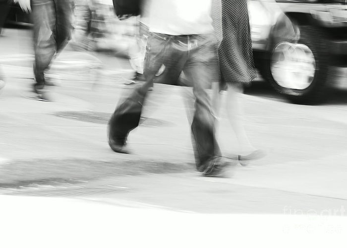Street Photography Greeting Card featuring the photograph Hurry Up by Aimelle
