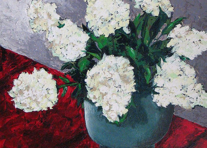 Still Life Greeting Card featuring the painting Hydrangea by Rollin Kocsis