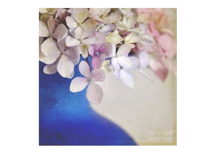 Hydrangeas Greeting Card featuring the photograph Hydrangeas In Deep Blue Vase by Lyn Randle