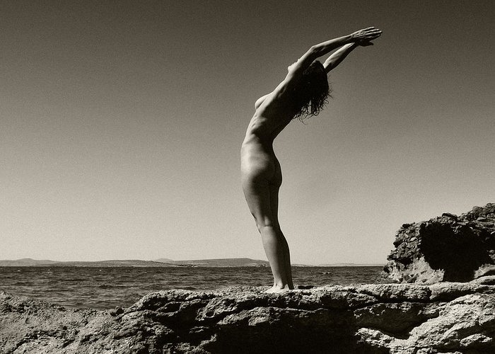 Black And White Greeting Card featuring the photograph Hymn To The Sun by Manolis Tsantakis