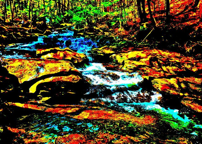 Landscape Greeting Card featuring the photograph Hyper Childs Brook Z 56 by George Ramos