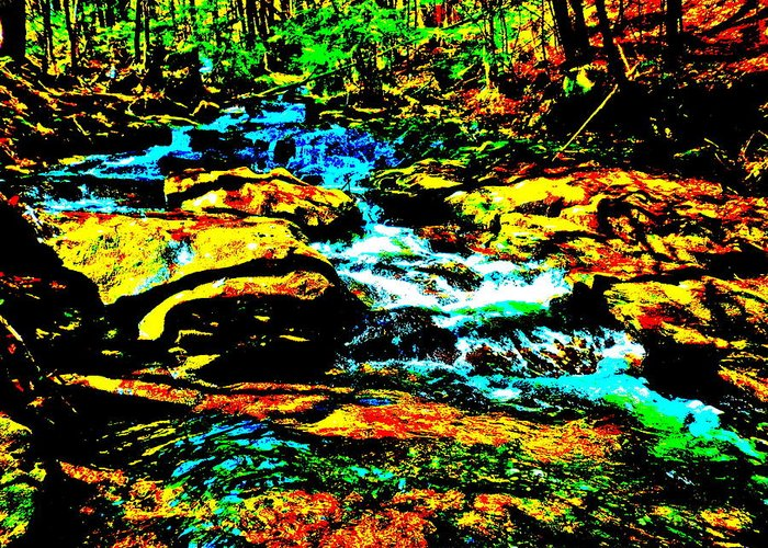 Landscape Greeting Card featuring the photograph Hyper Childs Brook Z 57 by George Ramos
