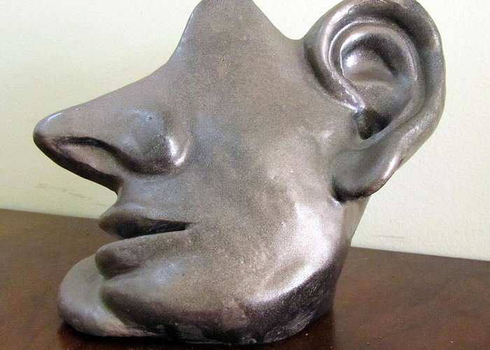 All Ears Greeting Card featuring the sculpture I Am All Ears Head Face With Ears Only Large Nose No Eyes Huge Ears by Rachel Hershkovitz