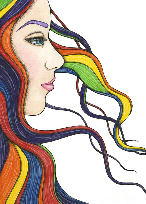 Portrait Greeting Card featuring the painting I Am My Own Rainbow by Nora Blansett