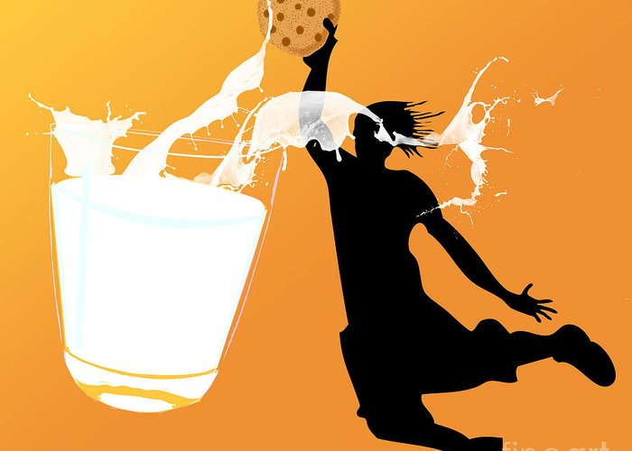 Digita Art Greeting Card featuring the digital art I Can Dunk by Laura Brightwood