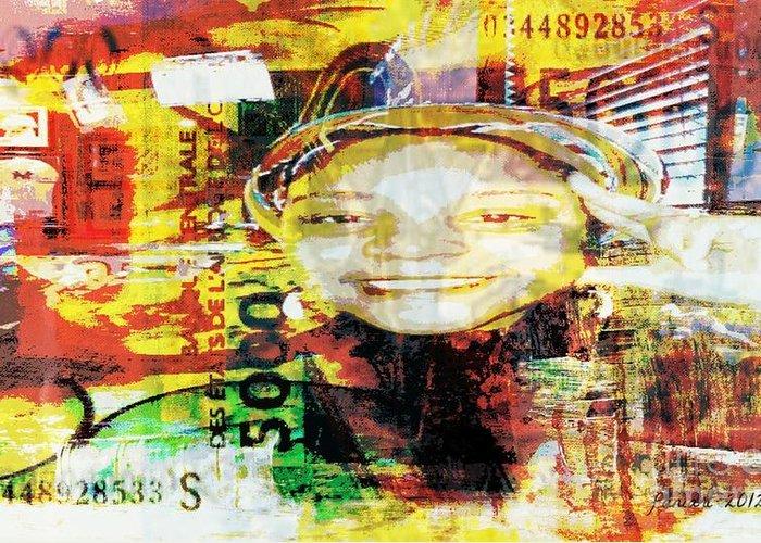 Fania Simon Greeting Card featuring the mixed media I Loved I Paid by Fania Simon