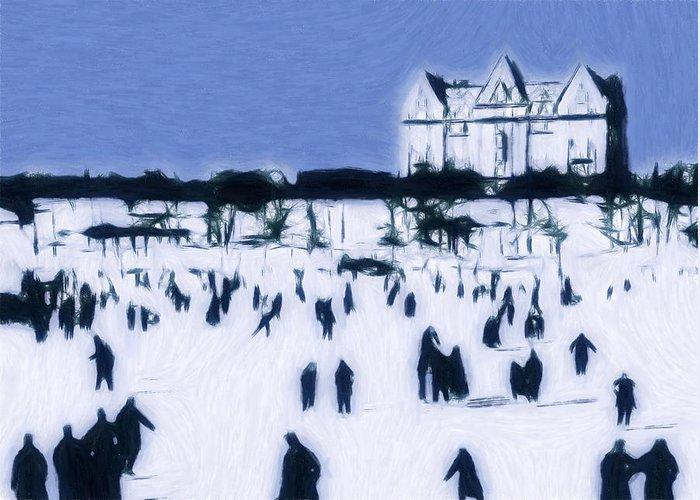 Ice Skating 19 Century Vintage Old Blue Sky Snow People Fun Winter Pastel Greeting Cards