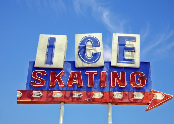 Signs Greeting Card featuring the photograph Ice Skating by Matthew Bamberg