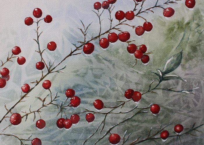 Wintry Greeting Card featuring the painting Iced Holly by Patsy Sharpe