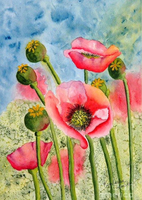Iceland Poppies Greeting Card featuring the painting Iceland Beauties by Kimberlee Weisker