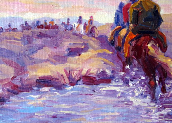 Iceland Greeting Card featuring the painting Icelandic Horse Trail Ride by Terry Chacon