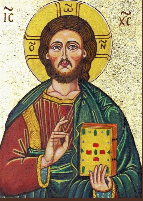 Religion Greeting Card featuring the painting Icon Of Jesus As Christ Pantocrator by Ion vincent DAnu