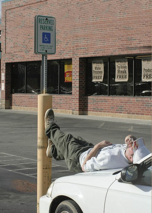 Handicapped Greeting Card featuring the photograph I'll Wait Here by Linda A Waterhouse
