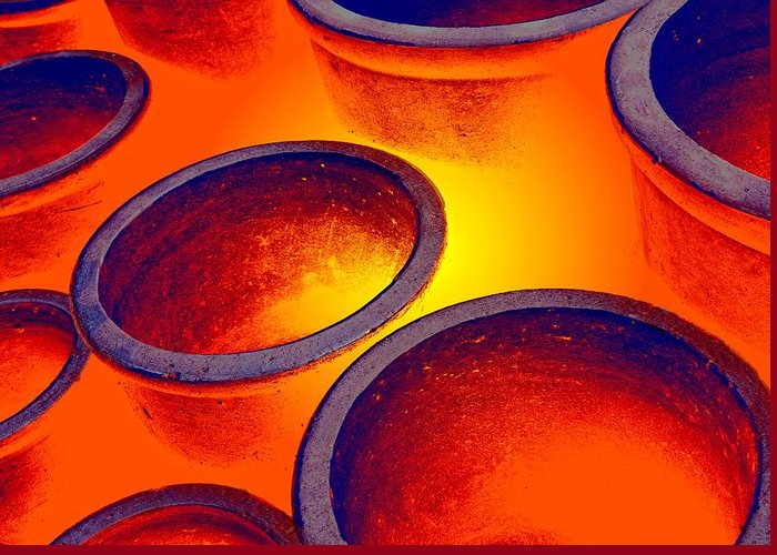 Burning Greeting Card featuring the photograph Illuminated Round Bowls by John Short