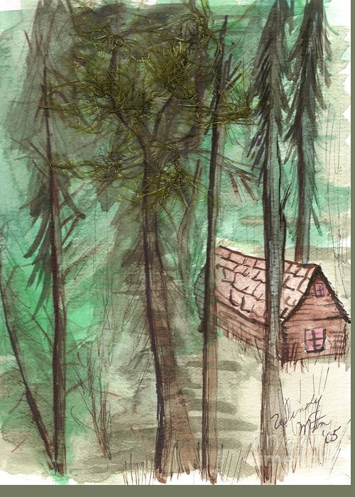 Forest Greeting Card featuring the painting Imaginary Cabin by Windy Mountain