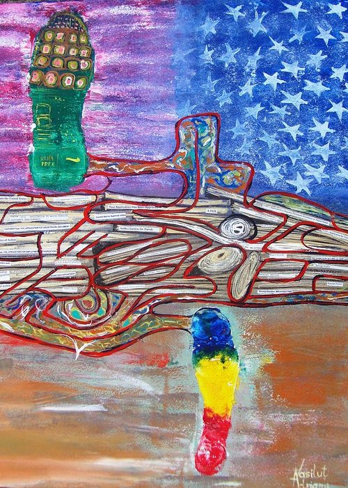 Immigration Greeting Card featuring the painting Immigration Step by Adriana Vasilut