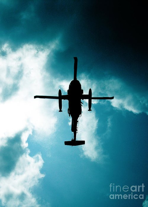 Helicopter Greeting Card featuring the photograph Impending Doom by Lj Lambert