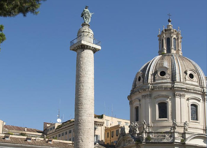 Worth Greeting Card featuring the photograph Imperial Fora With The Trajan's Column And The Church Santissimo Nome Di Maria. Rome by Bernard Jaubert