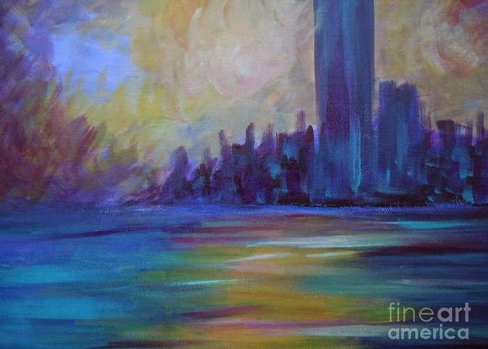 Landscape Greeting Card featuring the painting Impressionism-city And Sea by Soho