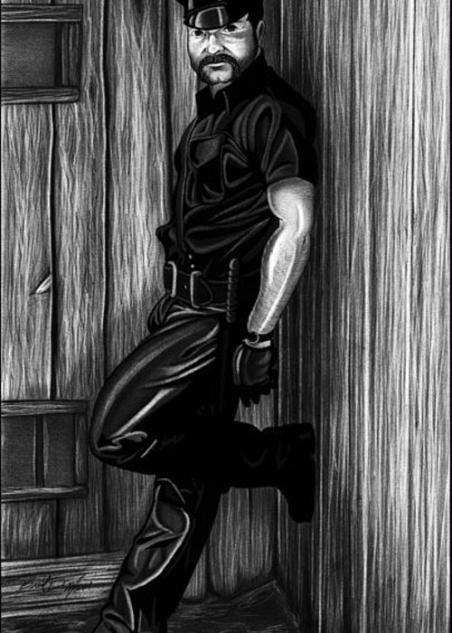 Men Greeting Card featuring the drawing In Dark Alleys by Brent Marr