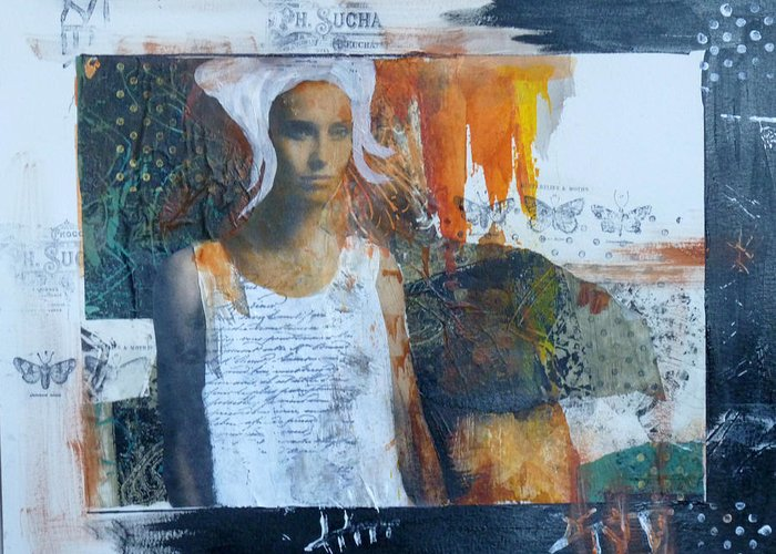 Mixed Media Greeting Card featuring the mixed media In Her Dreams by P Maure Bausch