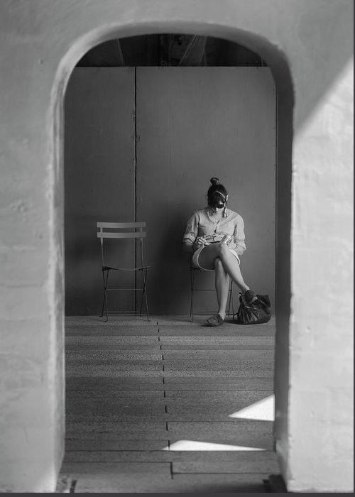 Candid Portrait Greeting Card featuring the photograph In The Doorway by Robert Ullmann