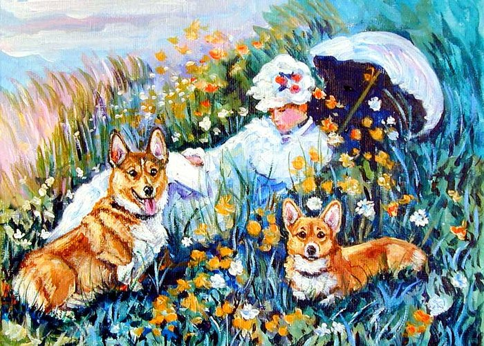 Pembroke Welsh Corgi Greeting Card featuring the painting In The Field With Corgis After Monet by Lyn Cook