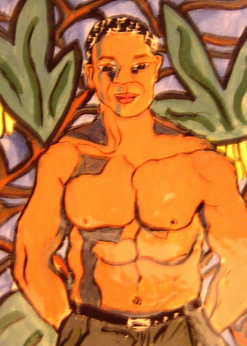 Man Greeting Card featuring the ceramic art In The Jungle by Patricia Lazar