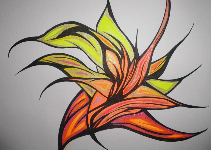 Abstract Greeting Card featuring the drawing In To The Flame by Tara Francoise