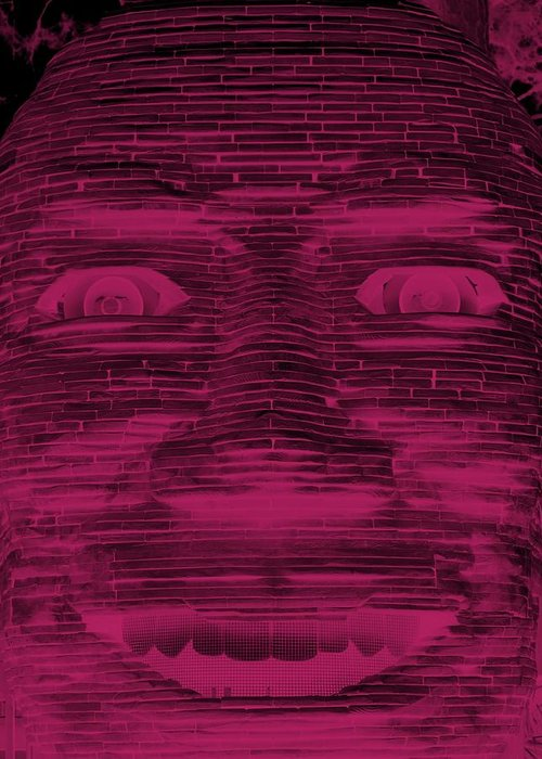 Architecture Greeting Card featuring the photograph In Your Face In Negative Hot Pink by Rob Hans
