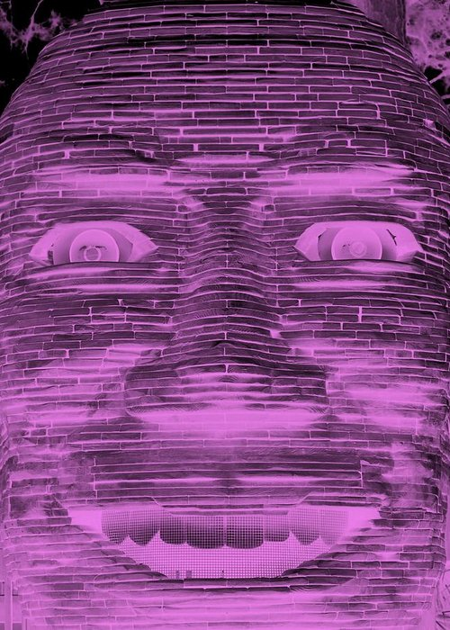 Architecture Greeting Card featuring the photograph In Your Face In Negative Light Pink by Rob Hans