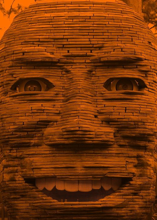 Architecture Greeting Card featuring the photograph In Your Face In Orange by Rob Hans