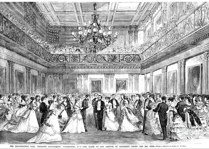 1869 Greeting Card featuring the photograph Inaugural Ball, 1869 by Granger