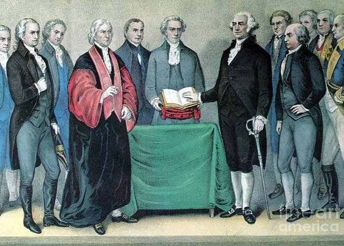 History Greeting Card featuring the photograph Inauguration Of George Washington, 1789 by Photo Researchers
