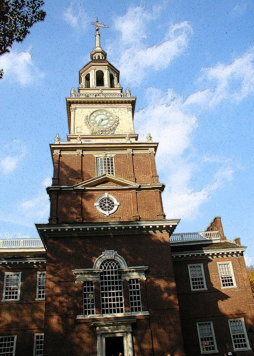 Independence Greeting Card featuring the mixed media Independence Hall by Rick Thiemke