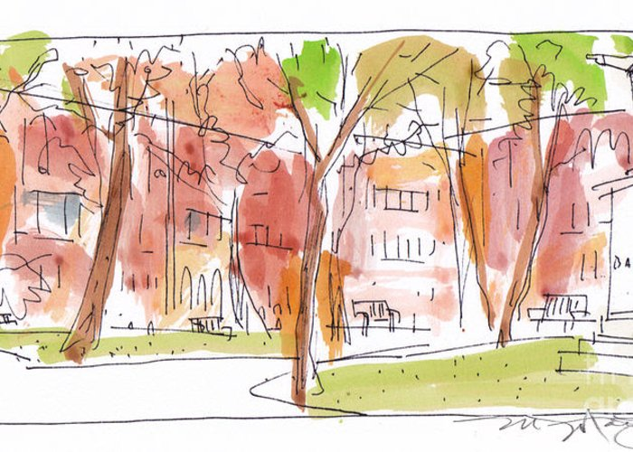 Landscape Greeting Card featuring the painting Independence Park Philadelphia by Marilyn MacGregor