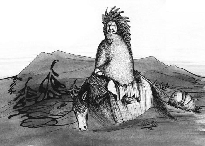 Pen And Ink Greeting Card featuring the drawing Indian Horse by Olin McKay