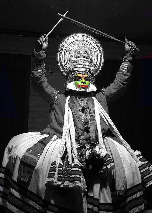 India Greeting Card featuring the photograph Indian Kathakali Dance Of Kerela 2 by Sumit Mehndiratta