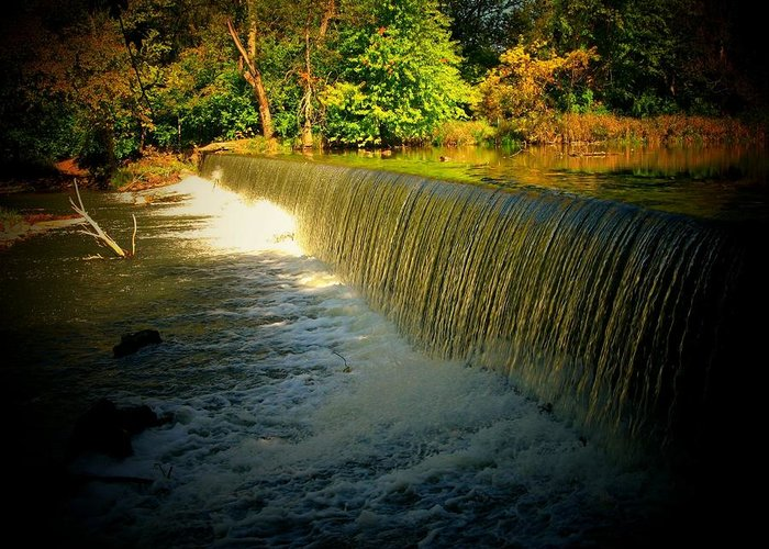 Waterfall Greeting Card featuring the photograph Indiana Waterfall by Joyce Kimble Smith