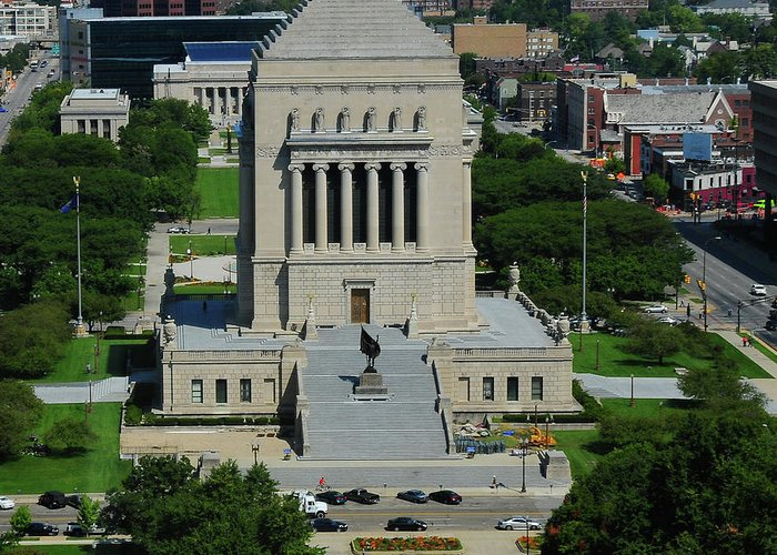 War Memorial Greeting Card featuring the photograph Indiana World And War Memorial by Rob Banayote