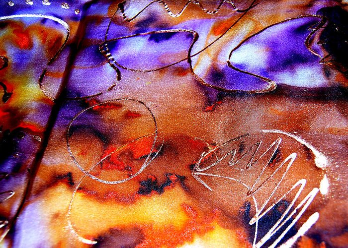 Abstract Greeting Card featuring the painting Indigo Brown Orange Yellow And Silver by Alexandra Jordankova